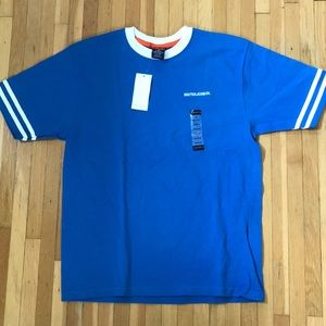 NWT Nautica Jeans Co. Blue and White Ringer Tee
